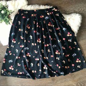 2/$30 Vintage black floral high waisted skirt